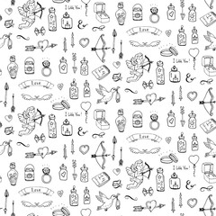 Pattern with hand drawn doodle Love and Feelings collection Vector illustration Sketchy Big set of icons for Valentine's day, Mothers day, wedding, love and romantic events Hearts hands Cupid Bicycle