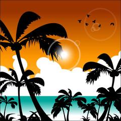 Summer holidays illustration. The Summer blue beach. Illustration, EPS 10.
