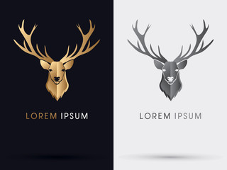 Deer head gold symbol logo vector