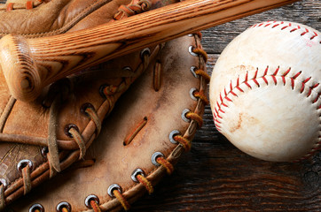 Old Used Baseball, Baseball Glove, and Baseball Bat.