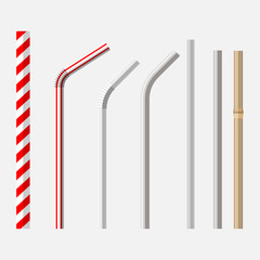 top view flat lay vector set of different drinking straws from retro classic disposable striped plastic to the modern reusable modern glass, steel and bamboo