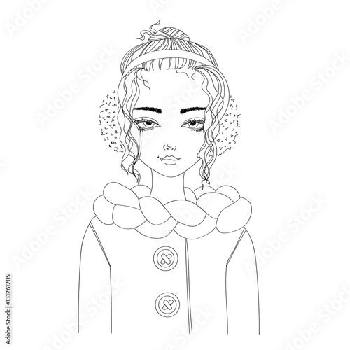 fashion illustration with a young pretty girl wearing warm winter clothes. monochrome illustration for blogs, magazines, books