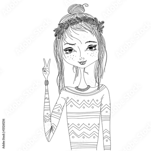Fashion illustration with a young pretty girl wearing warm cozy sweater and wreath. monochrome illustration for blogs, magazines, books