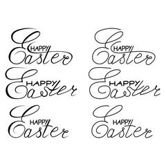 Happy Easter lettering set. Hand drawn lettering poster for Easter. Ink illustration. Modern calligraphy. Happy Easter typography background.