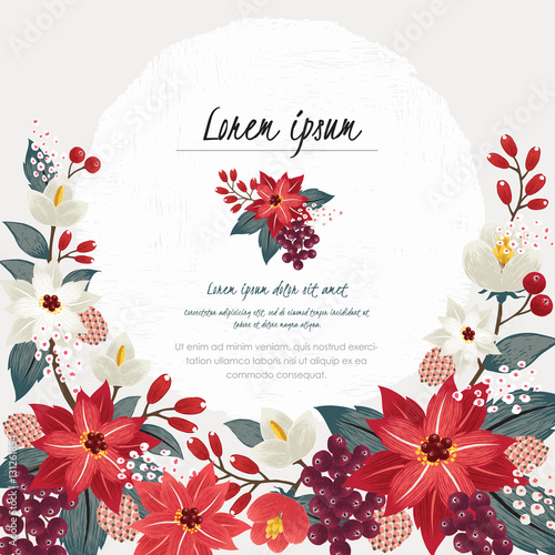 Vector illustration of a beautiful floral border in winter for Happy ...