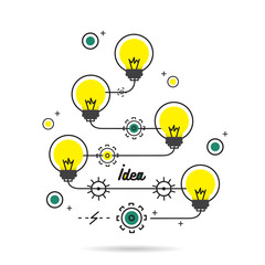 Light Bulbs, good idea, line flat design - Vector illustration
