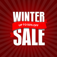 Winter sale badge, label, promo banner template. Up to 50% OFF discount sale offer vector illustration.