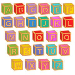 alphabet english colorful blocks - vector illustration, eps