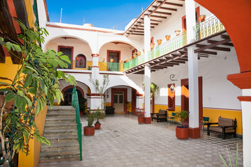 Art of traditional house with indoor  in Oaxaca, Mexico.