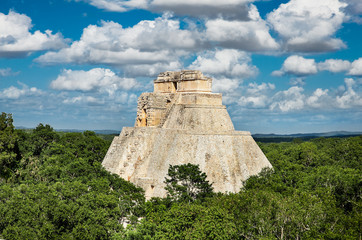Pyramid of the Magician  in ancient Mayan city Uxmal, Mexico