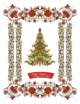 Decorative Christmas tree in the medieval-style frame. Good for