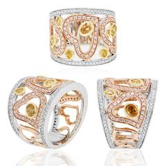 anillo argolla  con diamantes rubies zafiros   en oro blanco y rojo y amarillo
