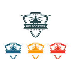 Vintage Helicopter Chopper Flight Logo Symbol