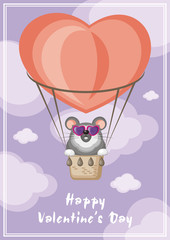 Greeting card happy Valentine's day. Funny animal flying in a hot air balloon.