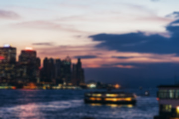 Fotomurales - blured lighhts of Hong Kong city with sunset, vintage tone