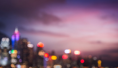 Fotomurales - Blur image of big city concept with sunset,