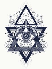 All seeing eye tattoo art vector. Freemason and spiritual symbol