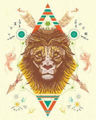 Lion totem tattoo, crossed arrows. Lion color tattoo tribal