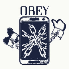 Obey tattoo. Dependence on phone. Concept dependence Internet