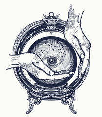 Fortune teller tattoo, crystal ball in their hands