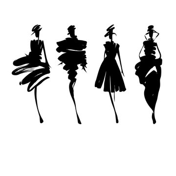 Fashion models sketch hand drawn , stylized silhouettes isolated . Vector fashion illustration set. Fashion logo.