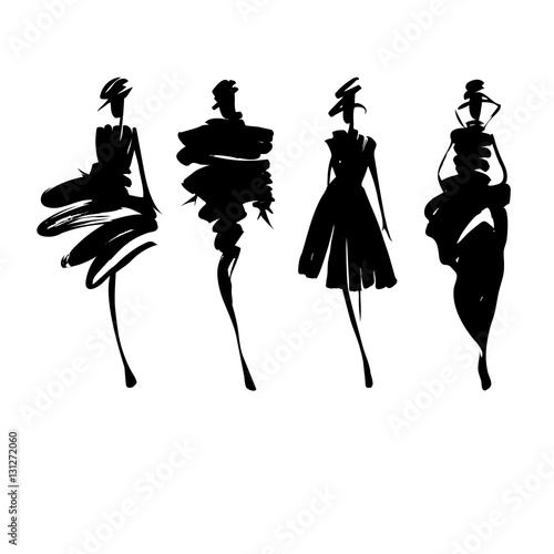"""Fashion models sketch hand drawn , stylized silhouettes ..."