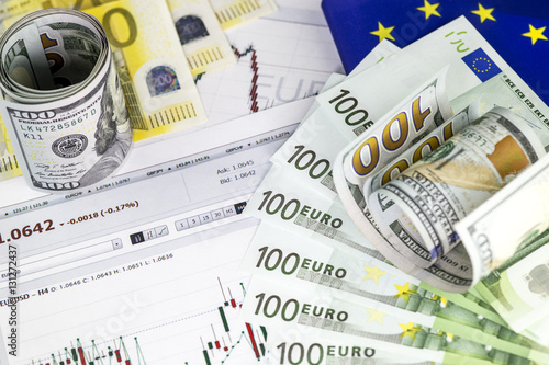 Concept Of Currency Trading Roll Hundred Us Dollar Bills Piles Euro