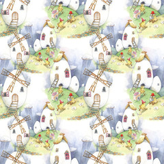 Easter house, chicken, eggs, watercolor, seamless pattern