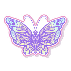 Butterfly fashion patch, badges, stripes, stickers. This illustr
