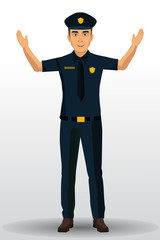 Police officer illustration, policeman character design with standing position.