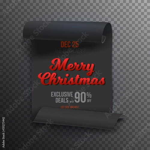 illustration of realistic vector ribbon banner icon marry christmas