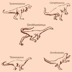 Dinosaurs with names. Pencil sketch by hand. Vintage colors. Vector