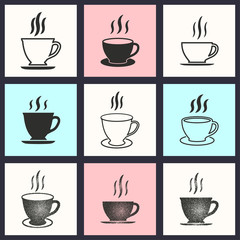 Coffee cup icon set.