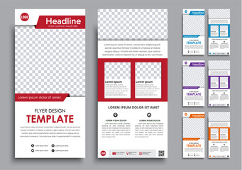 Design white  flyers narrow in 4 color options.