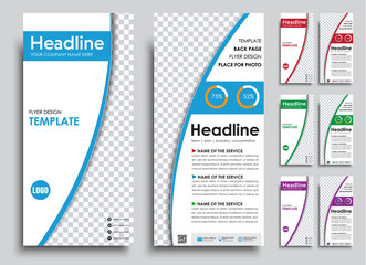 set of narrow white flyers in 4 color options.