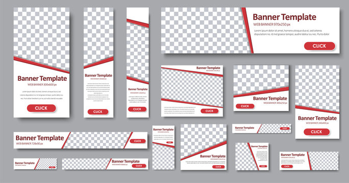 Set of web banners in standard sizes.