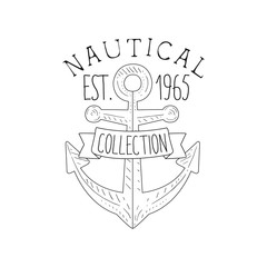 Boat Anchor Vintage Sea And Nautical Symbol Hand Drawn Sketch Label Template