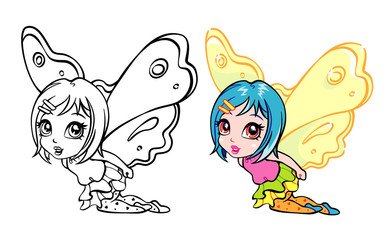 vector colourful elf fairy girl with coloring page
