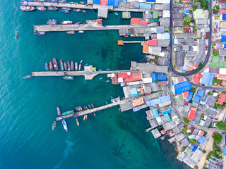 Aerial Shot of Beautiful  Fisherman Village and Pier, Top View.