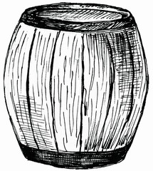 Barrel realistic sketch isolated on white background. Hand drawing.