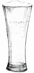 Glass of beer illustration isolated on white background. Hand drawing.