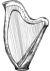 Stylized illustration of an Irish harp isolated on white background. Hand drawing.