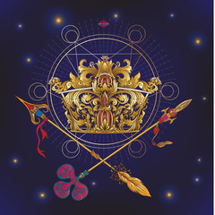 Golden royal crown and crossed swords with sacred geometry symbo