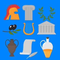 Travel Greek Culture Landmarks and cultural features flat icons design set.