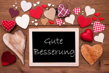 One Chalkbord, Many Red Hearts, Gute Besserung Means Get Well