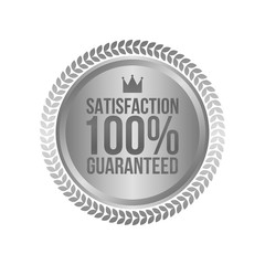 Vector Satisfaction Guaranteed Silver Sign, Round Label
