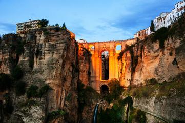 Ronda, Spain. Illuminated New Bridge over Guadalevin River
