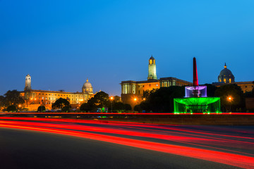 Delhi, India. Illuminated Rashtrapati Bhavan an Parliament building