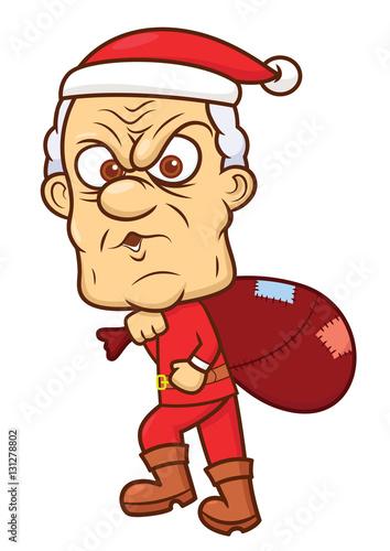 Quot ebenezer scrooge in santa claus costume cartoon stock