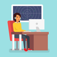 Happy smiling customer service phone operator. Call center online tech support. Vector illustration in flat design.